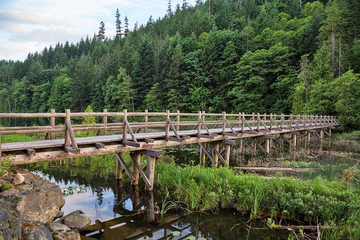 Puente de madera en el lago Brohm