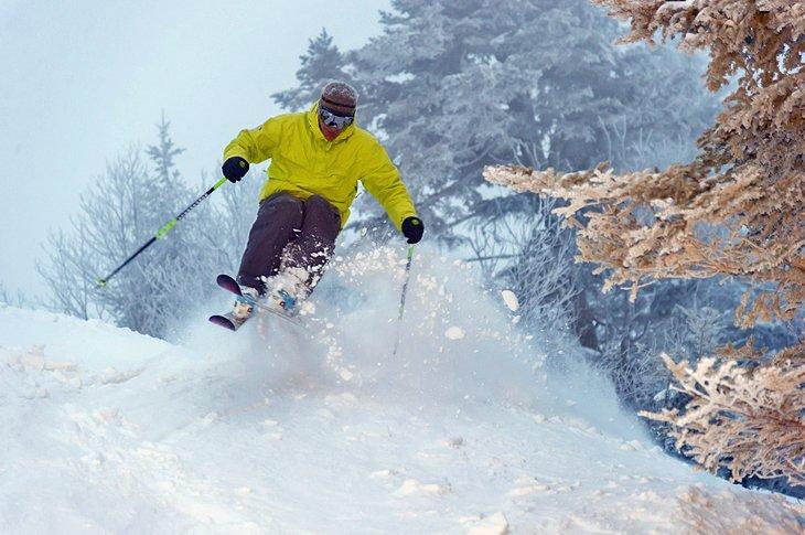 Un esquiador experto en nieve polvo de la Costa Este