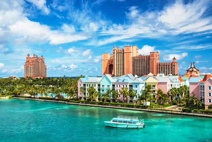 Colorful buildings and the Atlantis Resort