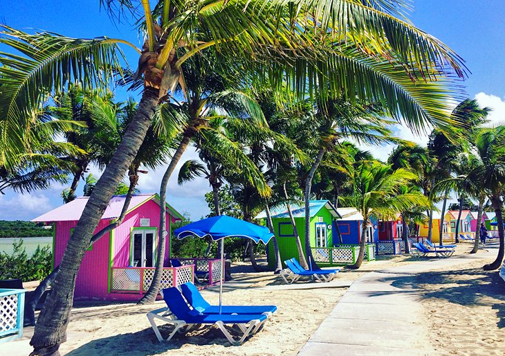 Colorful cabanas on Princess Cays