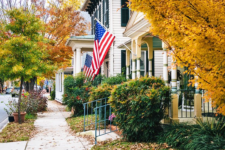 Autumn leaves and historic homes in Easton