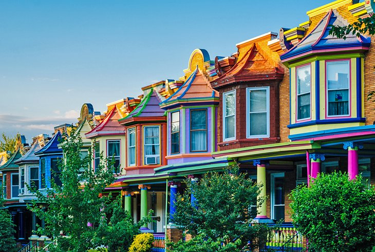 Colorful homes on Guilford Avenue, Balitimore