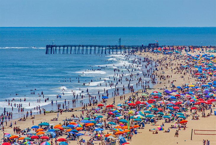 A busy beach at Ocean City, MD