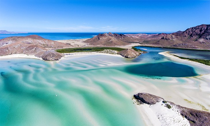 Vista aérea de la playa de Balandra