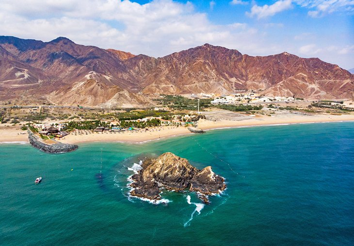 Aerial view of the Fujairah coastline and the Gulf of Oman