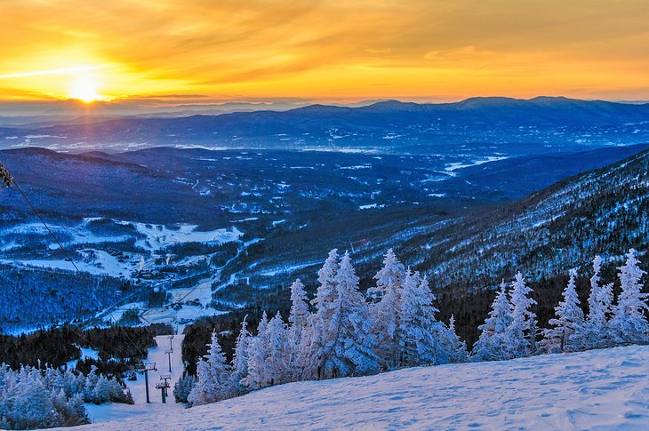 Sunrise from atop Mount Mansfield in the winter