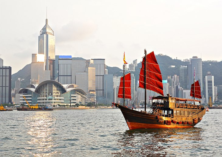 A tourist junk in Victoria Harbour, Hong Kong