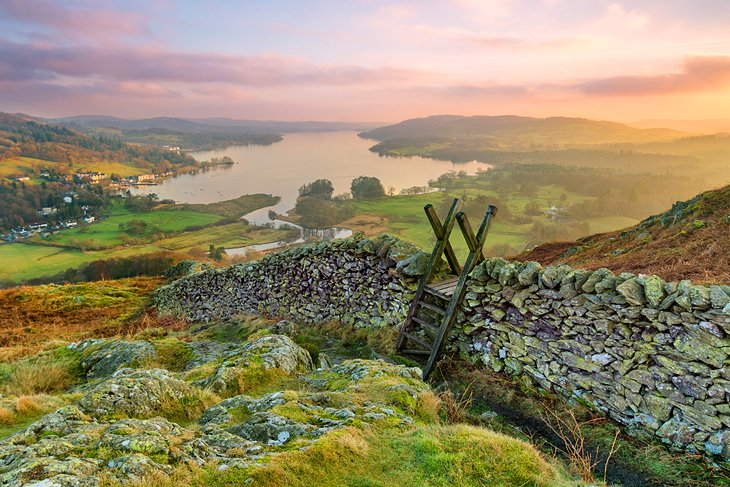 View over Windermere at sunset