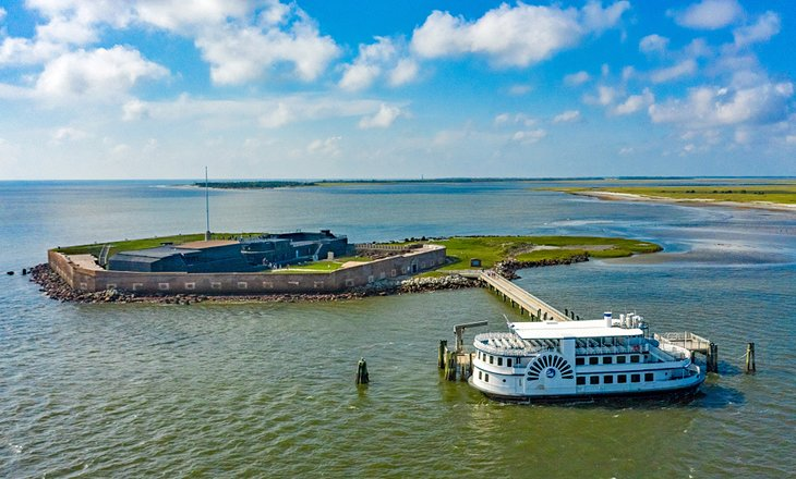 Fort Sumter and a ferry