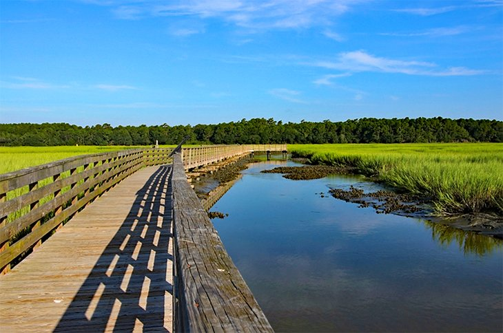 Wooden boardwalk at Huntington Beach State Park