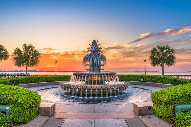 Pineapple fountain in Waterfront Park, Charleston