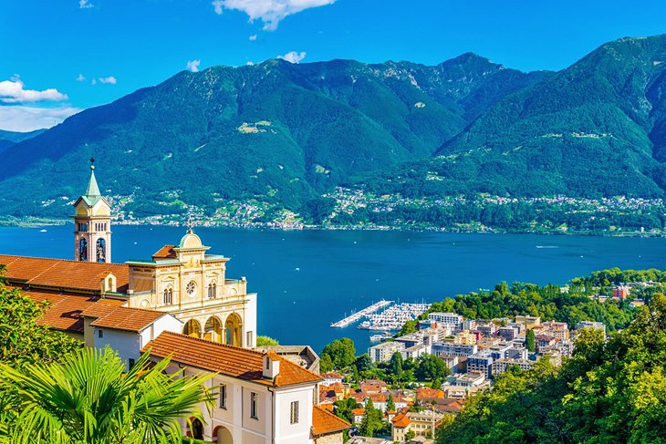 View of the Sacred Mount Madonna del Sasso, Locarno