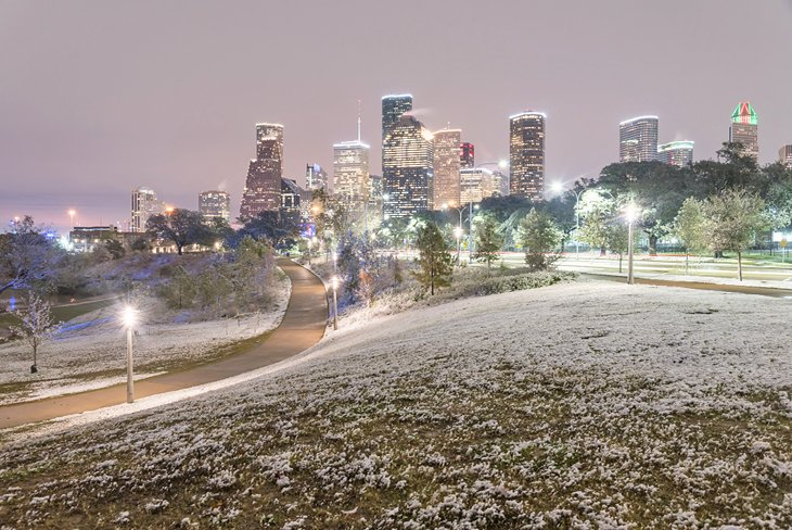 Rare snowfall in Houston