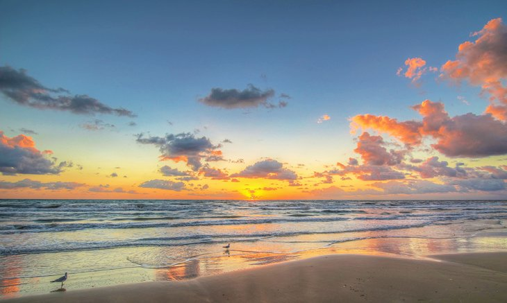 Sunrise on the Padre Island seashore