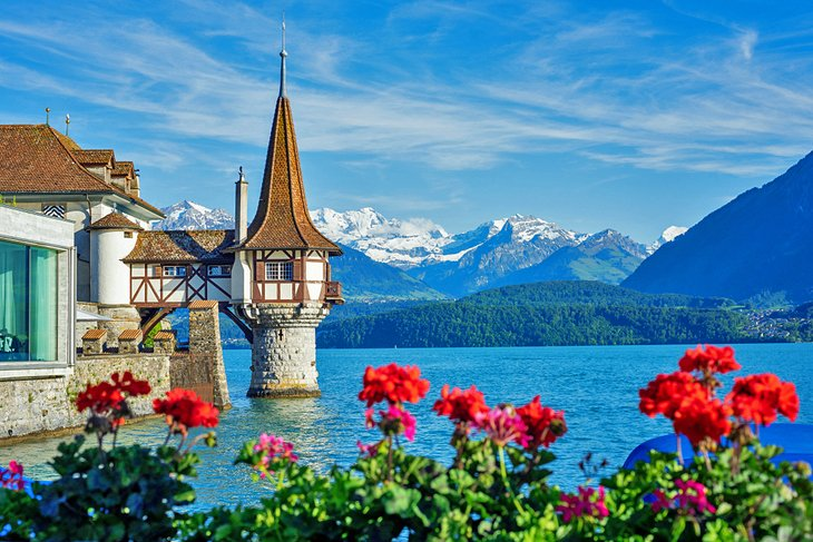 Oberhofen Castle on Lake Thun in the spring