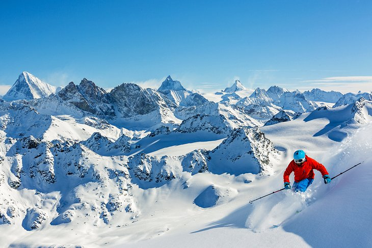 Skiing fresh powder in Switzerland