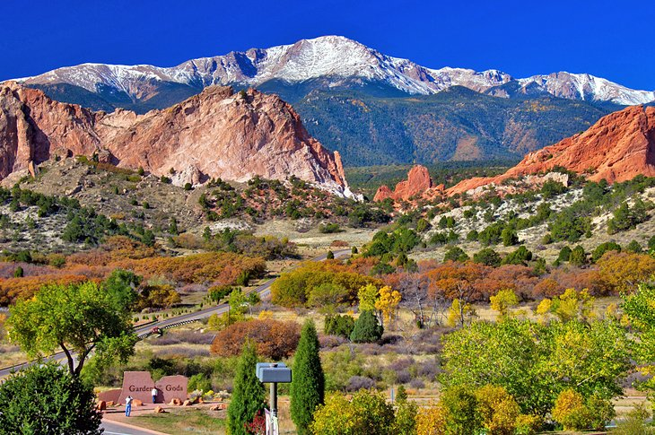 View over Garden of the Gods Park with Pikes Peak in the distance