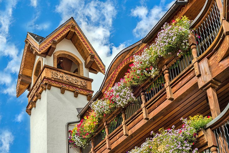 Bavarian building and flowers in Vail Village