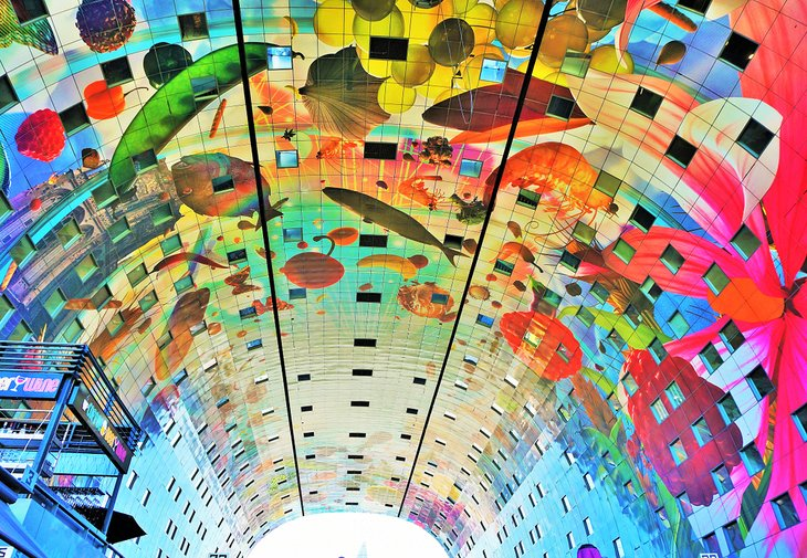 Colorful painted arch ceiling at the Rotterdam Market Hall