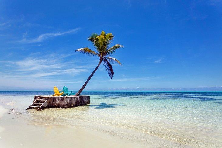 Идиллический Белиз пляжная сцена