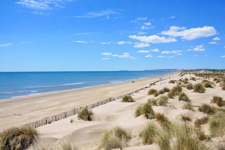 Dunas de arena y playa desierta en Plage de l'Espiguette