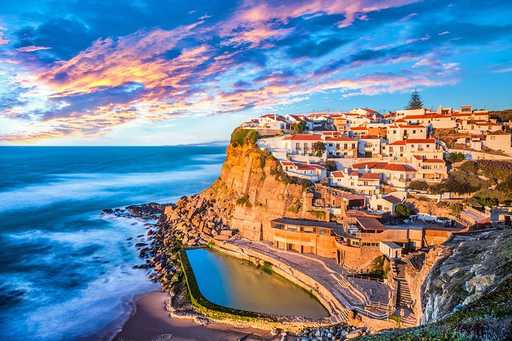 The perched village of Azenhas do Mar at sunset