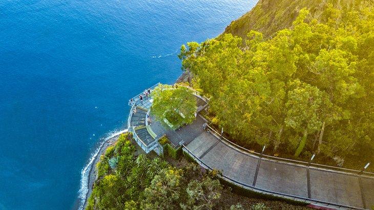 Aerial view of the glass skywalk at Cabo Girão