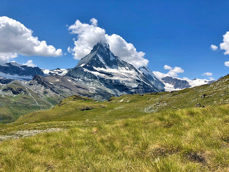 View of the Matterhorn from the Höhbalmen Alpine Meadows