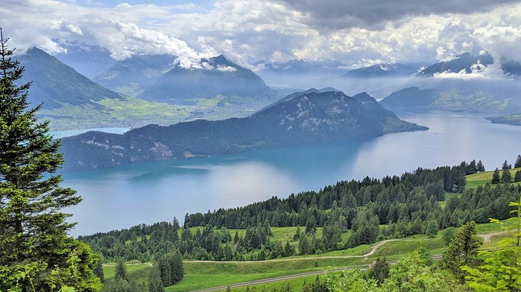 View of Lake Lucerne from the Mount Rigi Panorama Trail