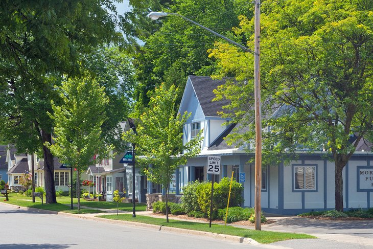 Houses in the village of Bellaire, Michigan
