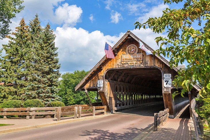The Holz-Brucke covered bridge in Frankenmuth, Michigan
