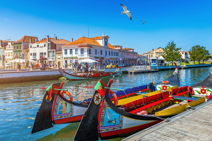 Traditional boats on the canal in Aveiro
