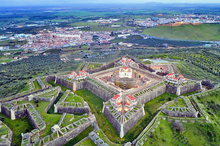 Aerial view of the star-shaped fortress in Elvas