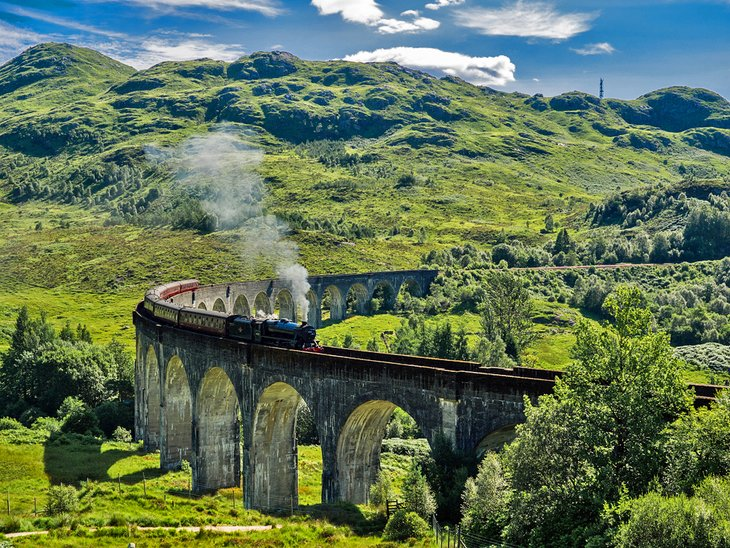 Steam train on the Glennfinnan Viaduct