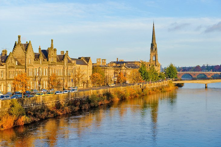 City center of Perth along the River Tay
