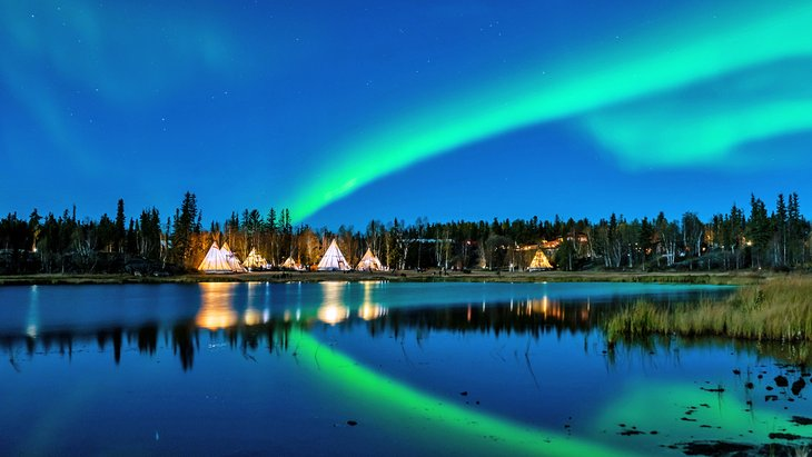 The northern lights over teepees at Yellowknife, Northwest Territories