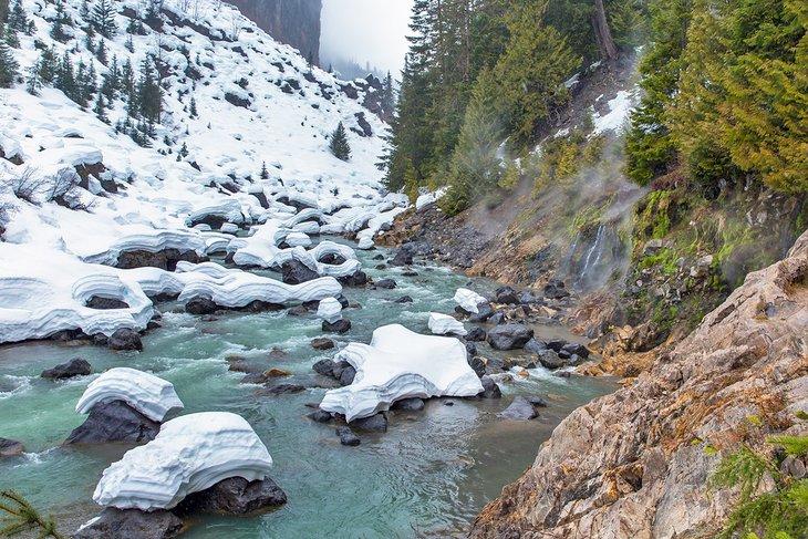 Keyhole Hot Springs en invierno