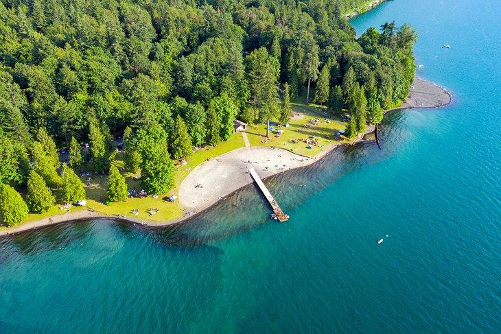 Vista aérea del lago Cultus
