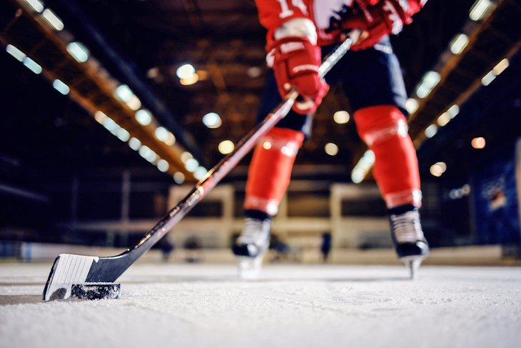 Close-up of a hockey player