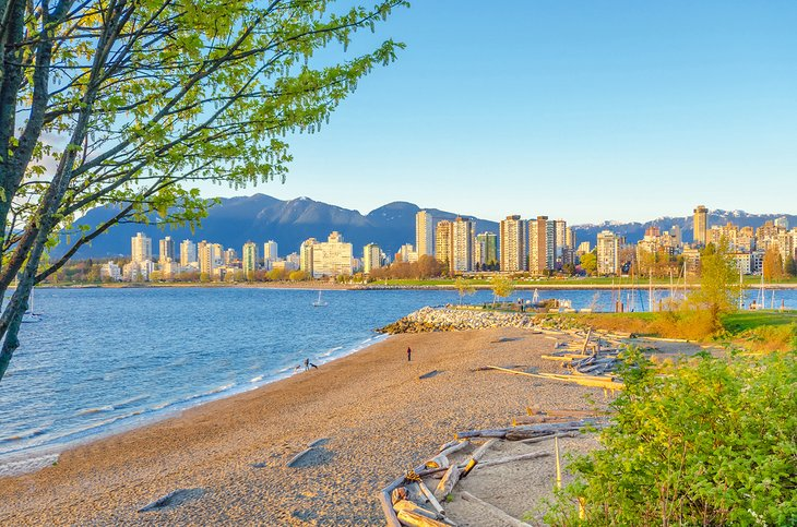 Kitsilano Beach with views of downtown Vancouver