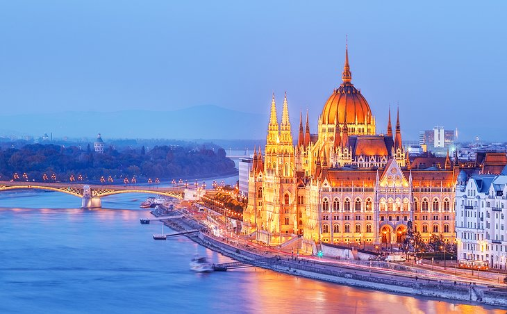Parliament building and the Danube River in Budapest