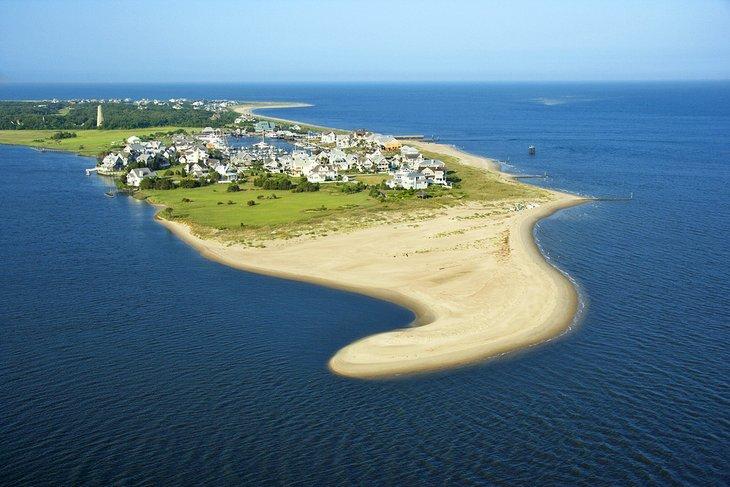 Vista aérea de la playa en Bald Head Island
