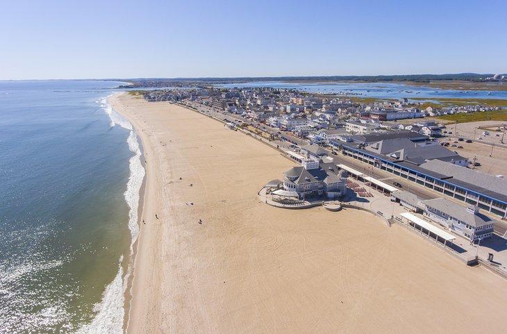Vista aérea de la playa de Hampton, New Hampshire
