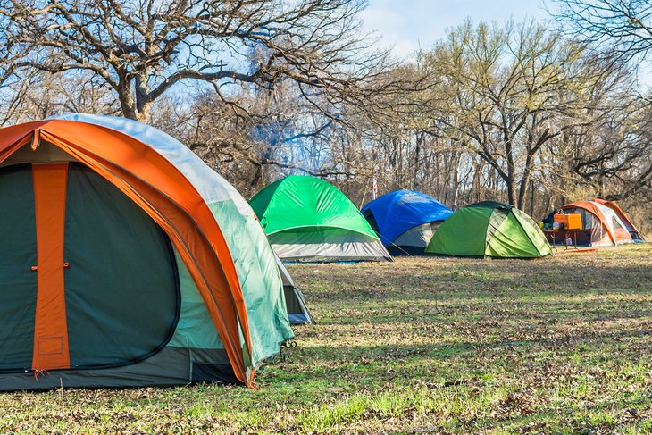 Tents pitched at Dinosaur Valley State Park