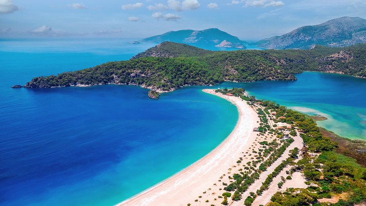 Aerial view of the beach at Ölüdeniz