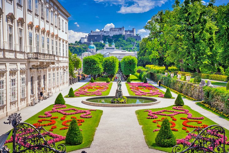 The Gardens of Mirabell Palace with Hohensalzburg Palace in the distance