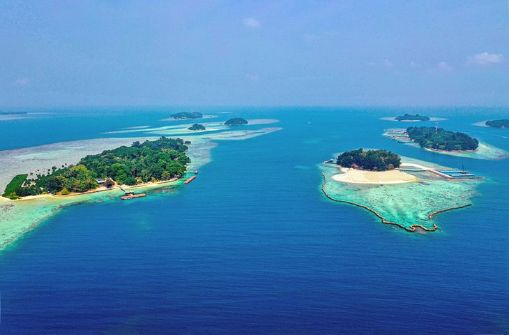 Aerial view of the Thousand Islands in the Java Sea