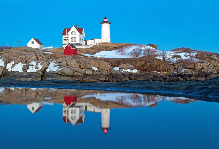 Nubble Lighthouse in winter, York, Maine