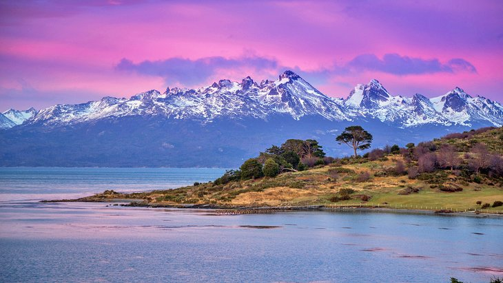 Beagle Channel and Tierra del Fuego National Park at sunset