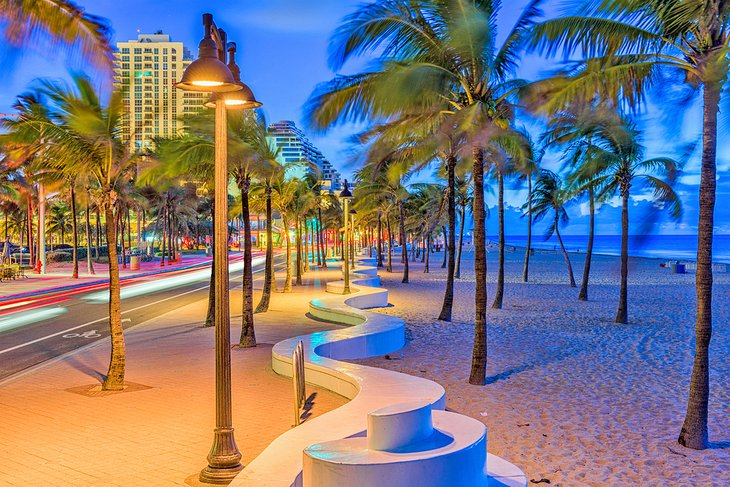 The beach strip in Fort Lauderdale at dusk